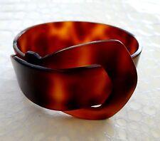 VTG PoP Art Deco Celluloid FAUX Tortoise Belt Buckle Bangle Bracelet Book Piece