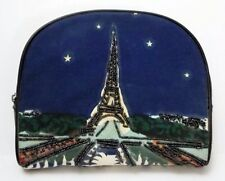 Eiffel Tower Beaded Cosmetic Make-Up Case Paradox Zipper Top Bag Vintage