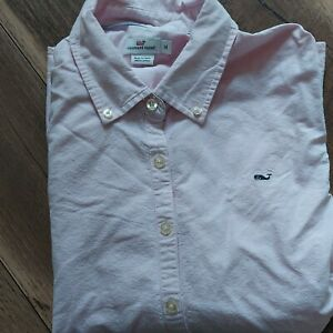 Vineyard Vines Oxford Button Down Up Collared Pink Cotton Whale Logo Shirt 14