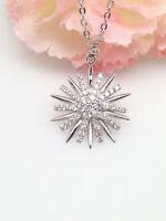 Sterling Silver 925 Cz Sun Starburst Pendant Necklace 15mm