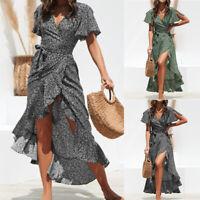 BS:Damen Sommer Boho Lang Maxikleider V-Ausschnitt Party Strandkleid Kleider