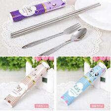 New Travel Spoon Fork Folded Chopsticks Tableware Cutlery Set Stainless Steel