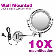8.5 inch Double Side Makeup 10x Magnifying Bathroom Mirror with LED Light