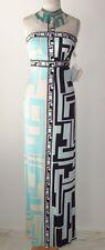 EMILIO PUCCI Aqua Silk Print Crystal Beaded Fringe Dress Gown 40 2 4