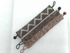 2 x 17cm  glass Beadwork bracelets ref:D591