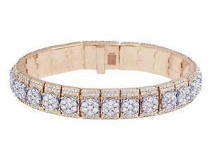 "10k Rose/White Gold 3D Cluster Prong Set Real Diamond Bracelet 14MM 8"" 20.75CT"