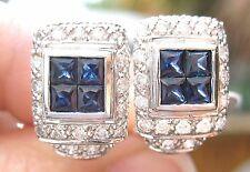 Estate Vintage 18K white gold diamond and Sapphire omega back earrings