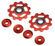 2 Pcs Red Mountain Bike Jockey Pulley Wheel Rear Derailleur 11T Gear Bicycle
