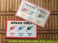 AIRCRAFT WING AVGAS ONLY FUEL FILL POINT DECALS GAMA