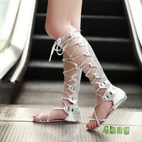 Women Tall Calf Knee High Leg Flat Strappy Gladiator Sandals Lady Shoes Plus Sz
