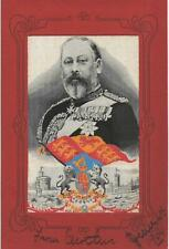 More details for woven silk. edward vii by grant. red border.