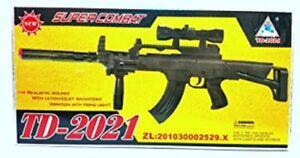 TD-2019 Kids Toy Military Assault Rifle Gun with Flashing Lights Sound Vibration