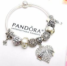 Authentic Pandora Silver Bangle Charm Bracelet With Love Heart European Charms.