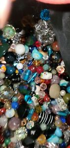 200+ pc Assorted Czech Crystals Vintage Faceted Glass and real stones Beads Lot