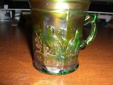 NORTHWOOD SINGING BIRDS GREEN IRIDESCENT CARNIVAL GLASS MUG