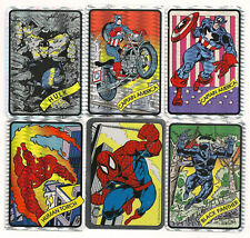 1990 Marvel Prism Stickers ( 6 Cards) W/ Captain America-Panther-Spidey-Hulk++