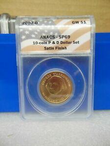2007-D Washington Golden Dollar Anacs SP69  Satin Finish **A Near Perfect Coin**