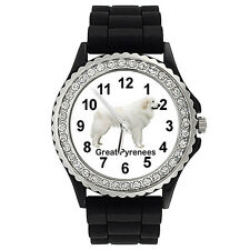 Great Pyrenees Dog Crystal Rhinestone Mens Ladies Jelly Silicone Watch SG357P