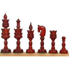 """4.7"""" Hand Carved Lotus Series Chess Pieces set in Weighted Bud Rose Wood"""