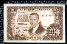 Espagne / Spain / España  : 100 Pesetas 1953 (France : franco de port)