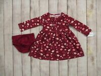 Carter's Girls Burgundy Floral 2 Piece Knit Dress & Bloomers Set 12 Month Outfit