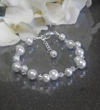 Funkelndes Perlen Armband weiß  irisierende Glas Biconen Brautschmuck NEU