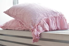 Pillow case melange pink 100%Linen RUFFLE PILLOW SHAM Cover Queen King