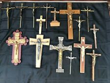 VINTAGE ANTIQUE LOT 16 WALL CRUCIFIX DIFF SIZE WOOD BRASS MOTHER PEARL METAL