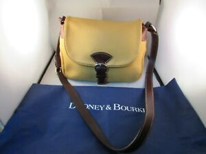 Dooney Bourke Yellow Leather With Brown Leather Trim Shoulder Bag With Dust Bag