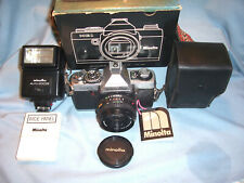 MINOLTA XG-1 35mm Film SLR Photo Camera ROKKOR 45mm 1:2 Lens w/ Auto 200X Flash