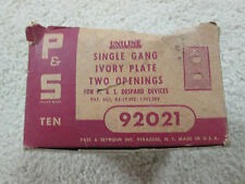 Vintage 3 Ivory Single Gang Ivory Plate Two Opening Outlet Plate Cover NOS 92021
