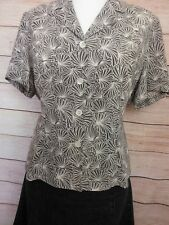 Eastex Fitted Blouse Top Plus Size 18 Grey Cream Floral Short Sleeve