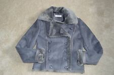 Balmain Grey Faux Sheepskin Suede Button Biker Jacket Coat Womens EU 36 / UK 8