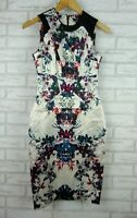 Cue Pencil Dress Cream, Red, Blue floral print Exposed Zip Satin Finish Sz 6