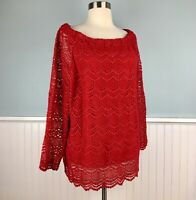 Size XL RSVP By Talbots Red Lace Overlay Shirt Blouse Top Formal Evening Women's