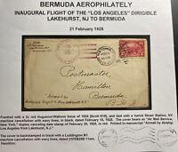 1925 New York USA Cover To Hamilton Bermuda First Flight Zeppelin Los Angeles