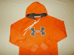 UNDER ARMOUR STORM ORANGE HOODED SWEATSHIRT MENS SMALL EXCELLENT CONDITION