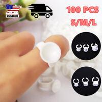 100Pcs Eyelash Extension  Disposable Glue Holder Ring Holder S/M/L Plastic White