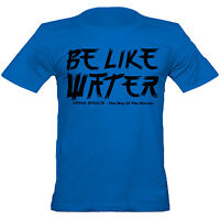 Urban Shaolin Mens Bruce Lee Inspired Quote Be Like Water Fitted T Shirt/  Blue
