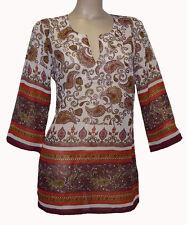 Locker sitzende Damenblusen, - tops & -shirts aus Polyester mit Paisley-Blusen