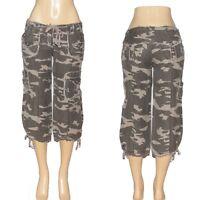 #52 -S M L- Green Cotton Army CAMO camouflage CARGO CAPRI PANTS