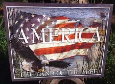 America Land Of The Free Collectible Tin Metal Sign Wall Garage Classic