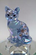 Fenton CAT Sitting Misty Blue Irid FROSTY PINECONES & Mistletoe OOAK FREEusaSHIP