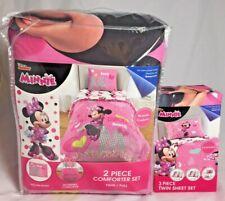 5pc Disney Minnie Mouse Comforter Pillow Sham Twin Sheet Set Microfiber Bedding