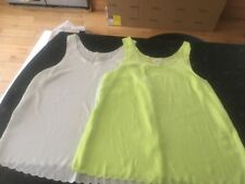 H & M Soft Touch Vest Tops / Blouse Size 10 X 2 1 White 1 Lime
