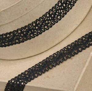 BLACK COTTON LACE RIBBON 25mm x 10 METERS FULL REEL CRAFTS CAKE DRESSMAKING