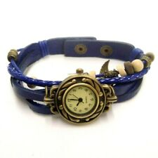 NEW BRASS TONED WATCH FACE W/NAVY BLUE MULTI STRAND LEATHER BAND QUARTZ