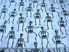 1 Yard Cotton Fabric - Henry Glass Fright Night Halloween Skeletons Shadow Metal