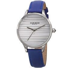 Womens's Akribos XXIV Ak1005BU Quartz Striated Silver & Blue Leather  Slim Watch