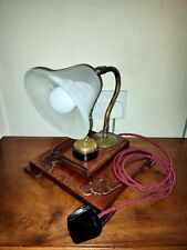 More details for bankers style swan neck desk lamp with brass fittings & vintage switch handmade
